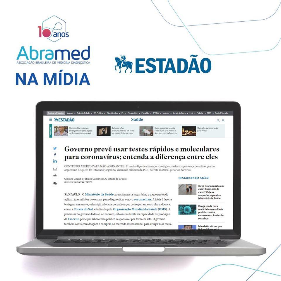 Jornal Estadão explica diferença entre testes rápidos e moleculares para dignóstico do conoravírus