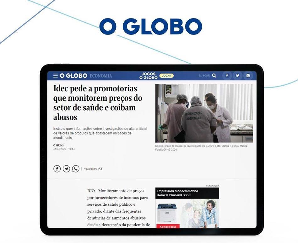 O Globo noticia o pedido de monitoramento realizado pelo Idec