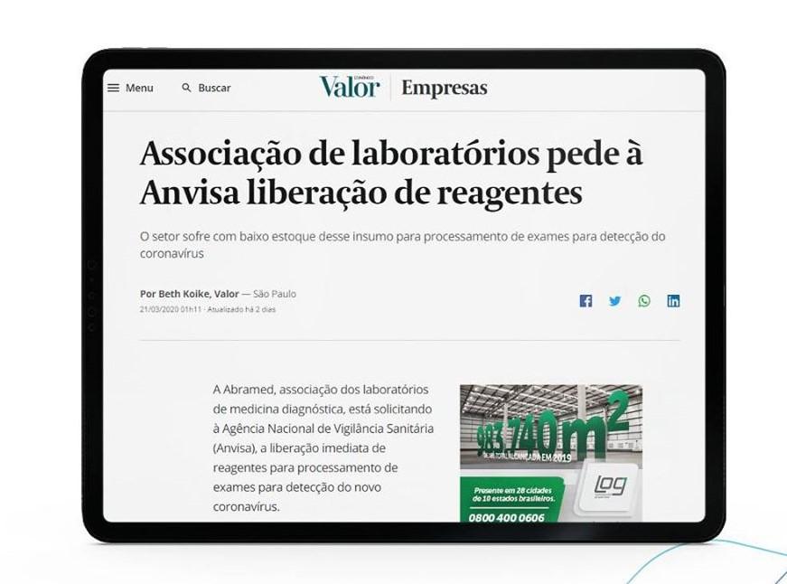 Ofício à Anvisa enviado pela Abramed é noticiado no jornal Valor Econômico