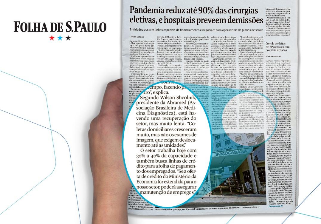 Presidente da Abramed fala à Folha de S. Paulo sobre cenário de queda de exames nos laboratórios durante pandemia