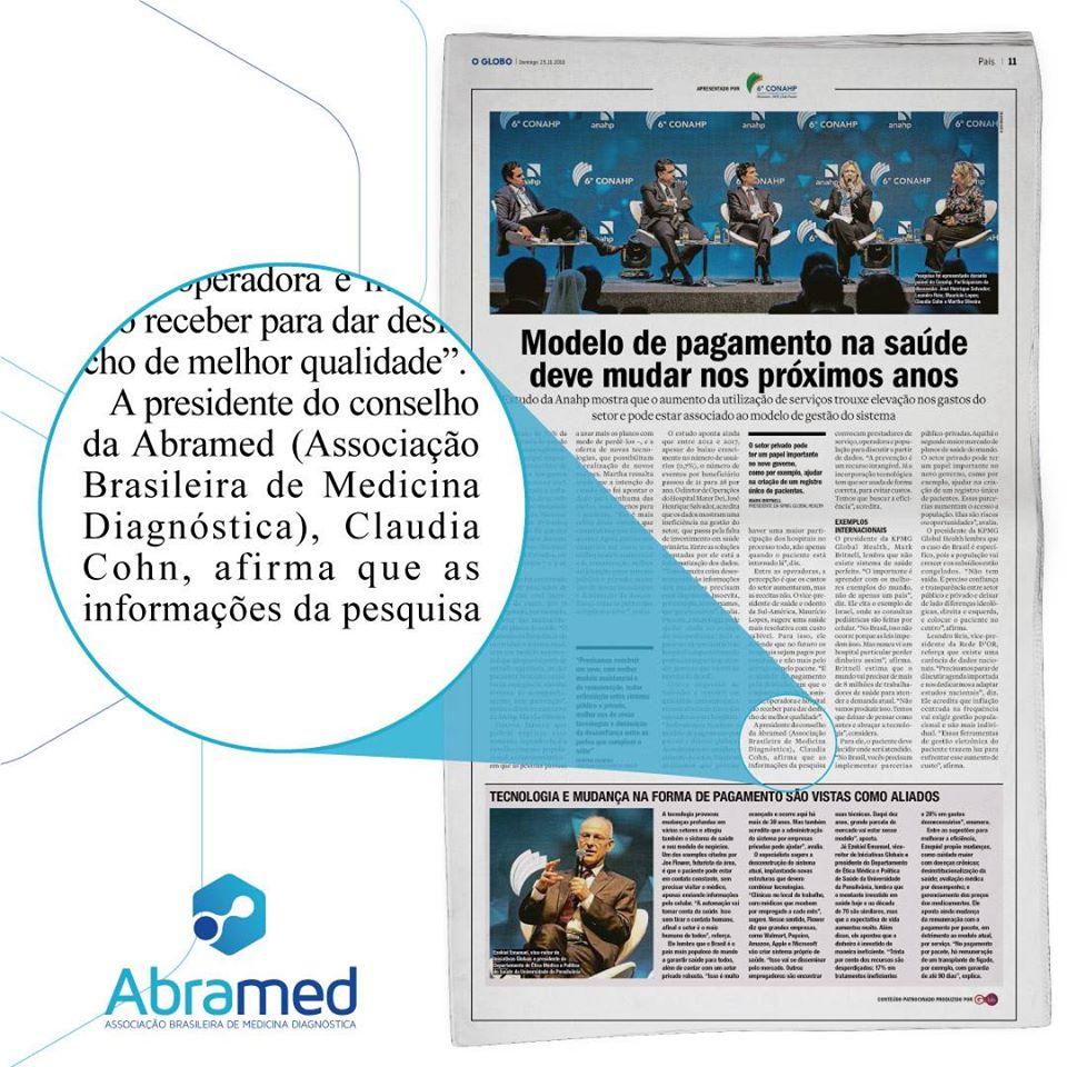 O Globo comenta sobre a participação da Abramed no 8º Conahp