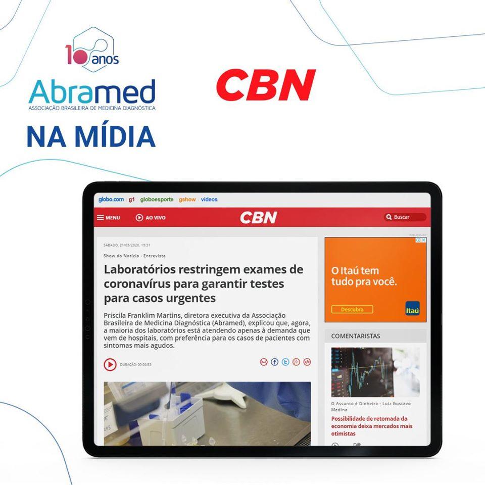 Rádio CBN entrevista diretora executiva da Abramed sobre o cenário no combate ao coronavírus
