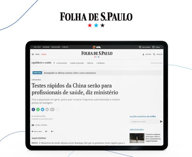 Ofício enviado à ANVISA sobre liberação de insumos para dignóstico do Covid-19 é destaque na Folha de S. Paulo