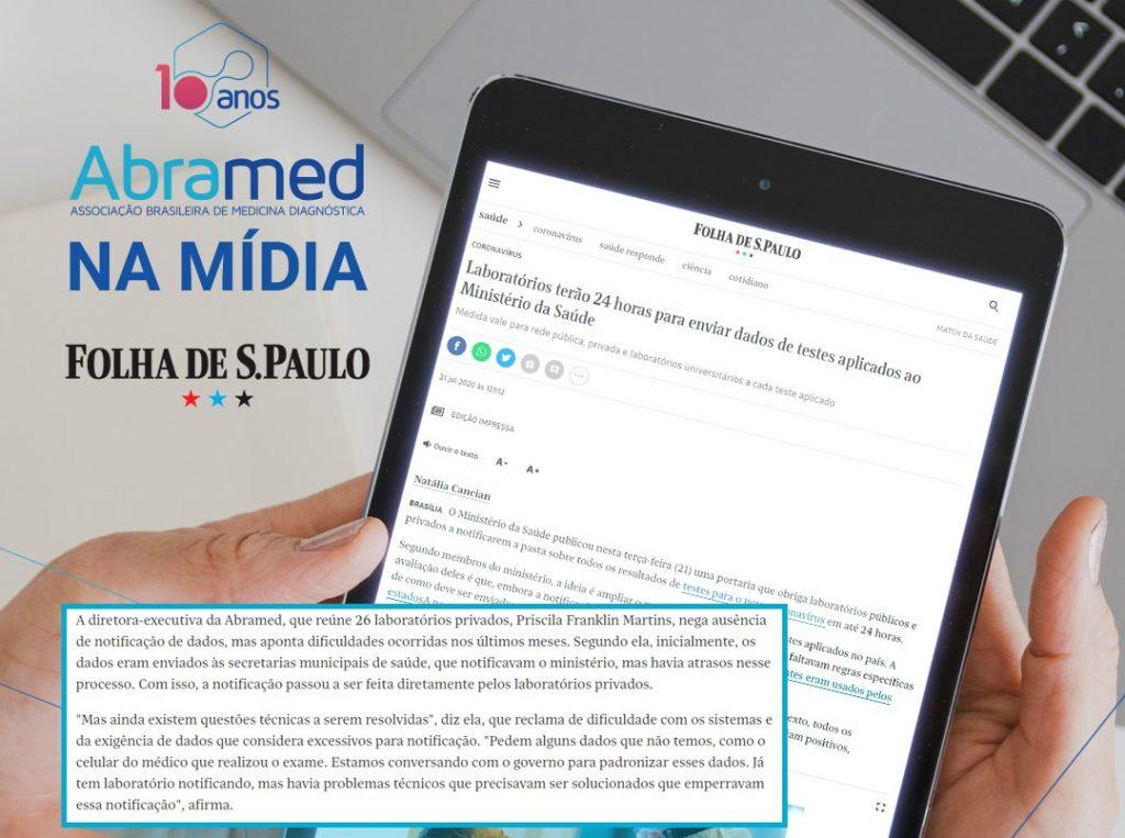 Em entrevista à Folha de S.Paulo, diretora-executiva da Abramed fala sobre notificação de dados dos laboratórios privados durante pandemia