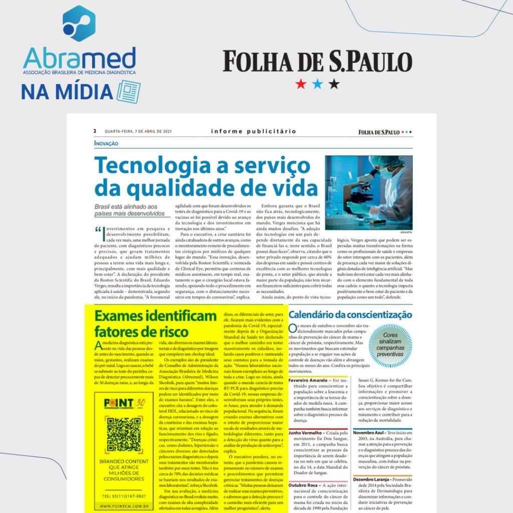 Abramed fala sobre importância dos exames em caderno especial Saúde na Folha de S. Paulo