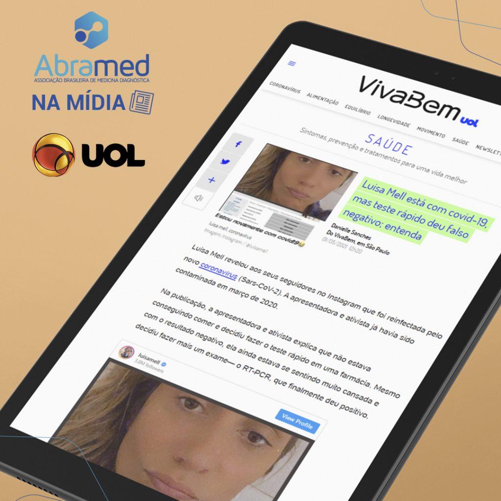 Abramed explica ao Viva Bem UOL diferença entre testes de COVID-19 após caso de reinfecção da ativista Luisa Mell