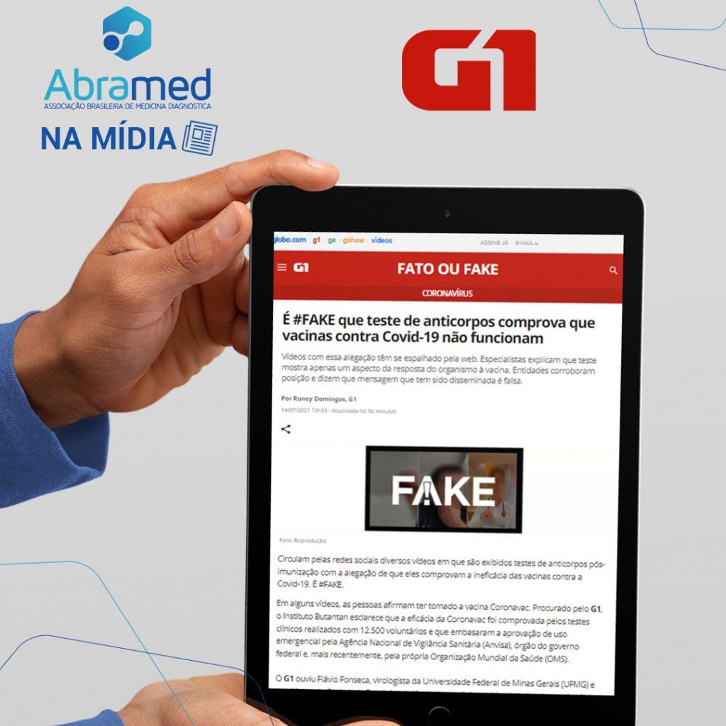 Abramed é fonte na editoria Fato ou Fake no G1
